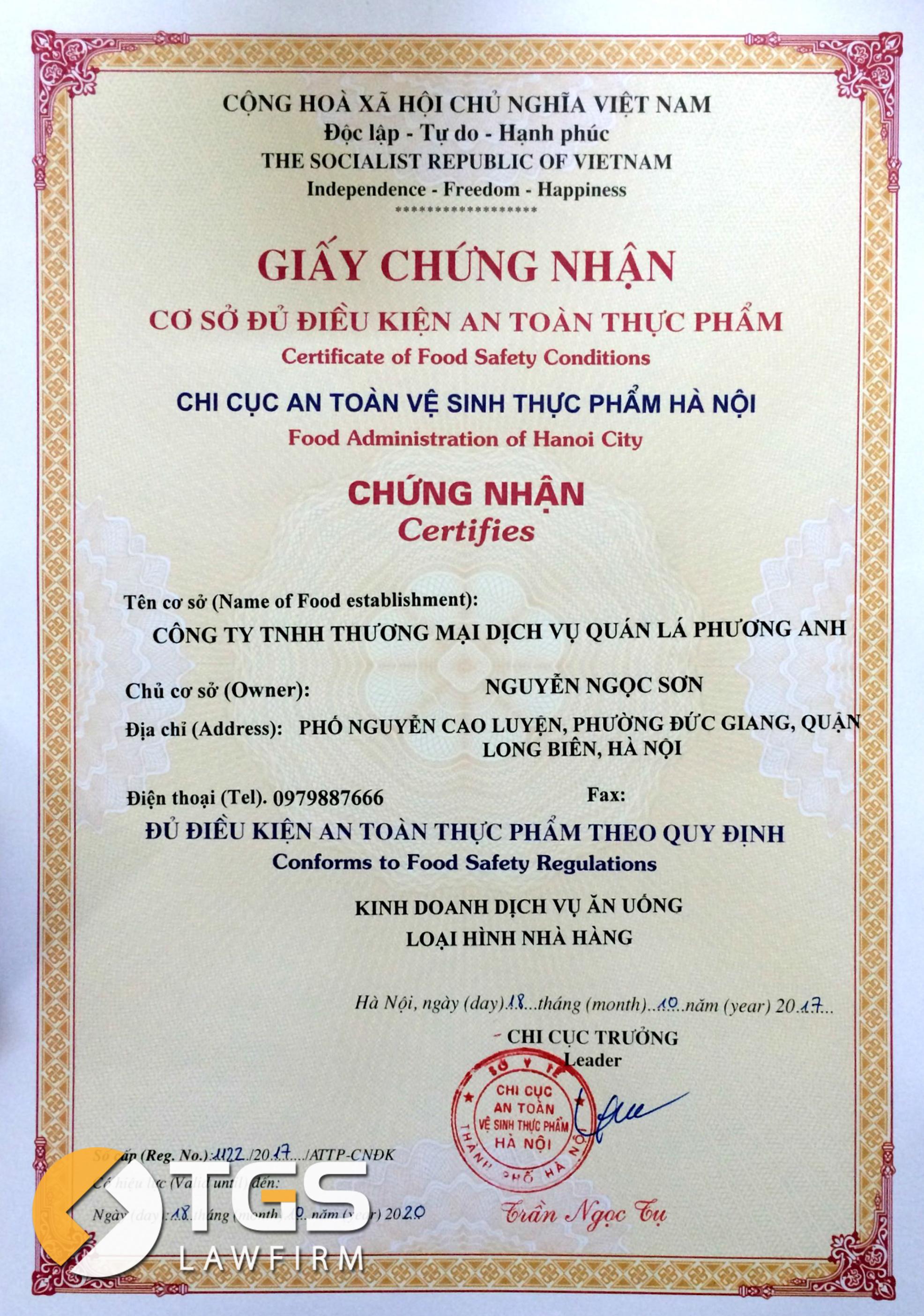 newvisionlaw-xin-cap-thanh-cong-giay-chung-nhan-co-so-du-dieu-kien-an-toan-thuc-pham-cho-nha-hang-quan-la-phuong-anh