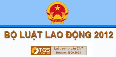 Bộ luật lao động 2012 của quốc hội ngày 18 tháng 6 năm 2012