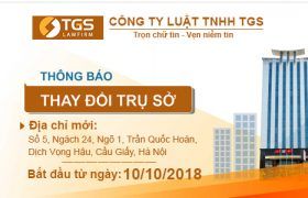[THÔNG BÁO] Thay đổi địa chỉ trụ sở Công ty Luật TNHH TGS