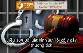 Điều 104 Bộ luật hình sự Tội cố ý gây thương tích